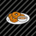 dip, doughnut, food, fritter, indian dish, indian fritter, medu vada icon