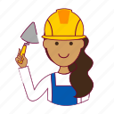 assistente de obra, emprego, indian woman professions, job, mason, mulher, pedreira, professions, trabalho, work icon
