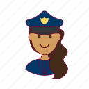 emprego, indian woman professions, job, mulher, police officer, policial, professions, trabalho, work icon