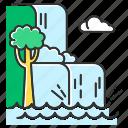 cascade, jungle, landscape, nature, rainforest, scenery, waterfall icon