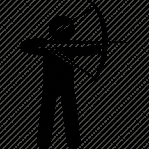 aiming, archer, archery, arrow, bow, man, person icon