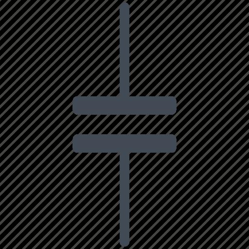 capacitor, circuit, diagram, electric, electric condenser, electronic, no polarized capacitor icon