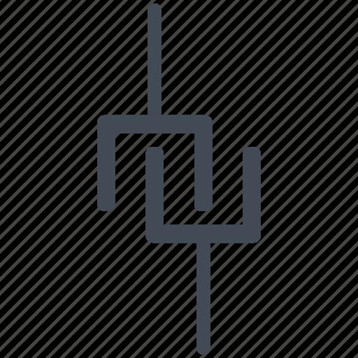 capacitor, circuit, diagram, electric, electronic icon