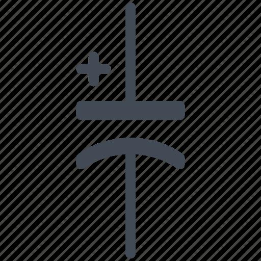 capacitor, circuit, diagram, electric, electrolytic capacitor, electronic, polarized capacitor icon