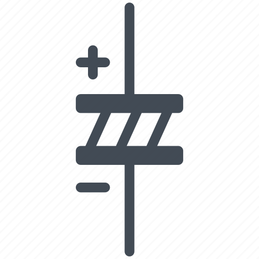 capacitor, circuit, diagram, electric, electronic, polarized capacitor icon