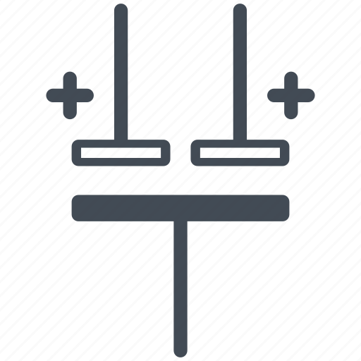 capacitor, circuit, diagram, electric, electronic, multiple electrolytic capacitor icon