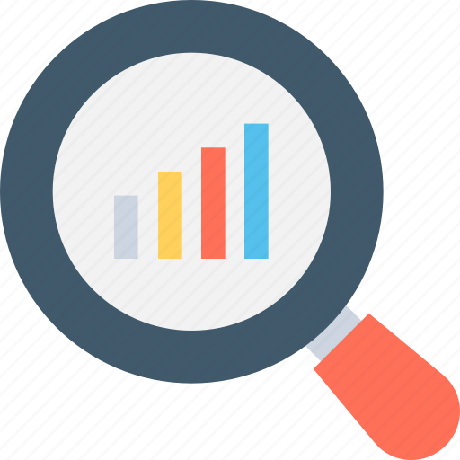 analysis, bar graph, evaluation, magnifier, search graph icon