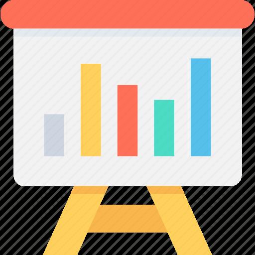 analytics, bar graph, presentation, stats, whiteboard icon