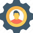 cogwheel, industry, management, user, user settings icon