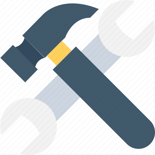 garage tool, hammer, repair tool, spanner, wrench icon