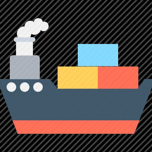 boat, cargo ship, ship, shipping boat, transport icon