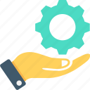 cog, cogwheel, hand, repair service, services icon