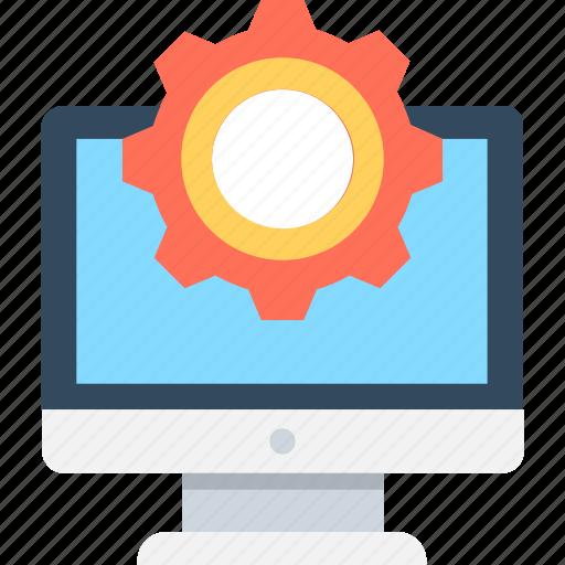 cog, development, monitor, monitor setting, repair icon