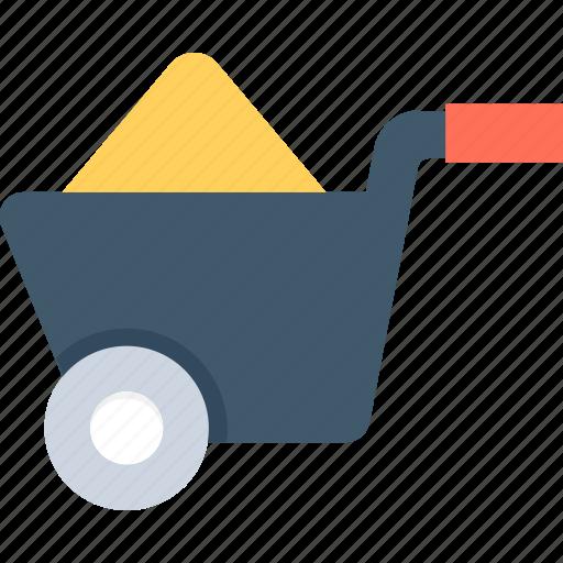 barrow, cart, hand cart, hand truck, wheelbarrow icon