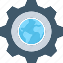 cog, cogwheel, globe, internet setting, worldwide icon