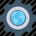 worldwide, cogwheel, globe, cog, internet setting