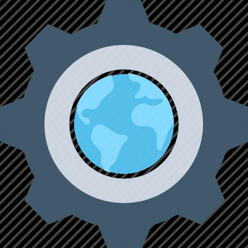 cog, cogwheel, globe, internet setting, worldwide icon