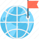 flag, globe, gps, location, navigation icon