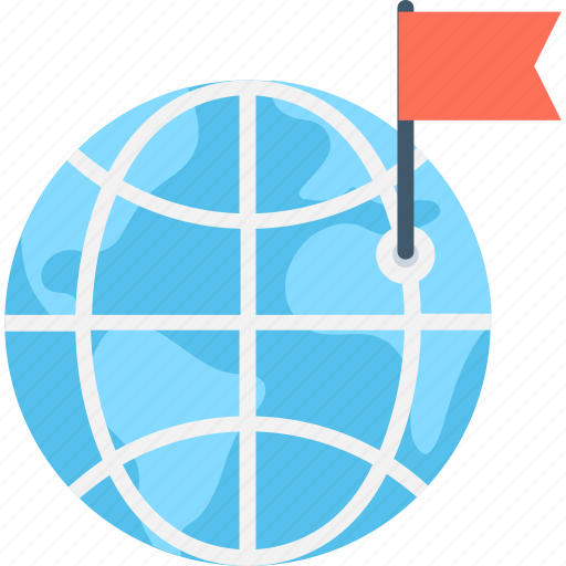 flag, globe, gps, location, navigation icon