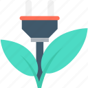 eco energy, eco power, ecology, leaf, plug icon