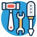 garage tools, hand tools, repair, settings, workshop icon