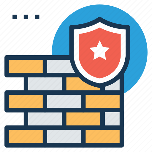 firewall, security concept, shield with bricks, wall and shield, wall security icon