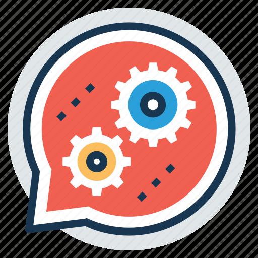 communication technology, enterprise system theme, gear talk, social media technology, speech bubble gears icon