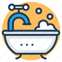 bath, bathtub, jacuzzi tub, shower, shower tub icon