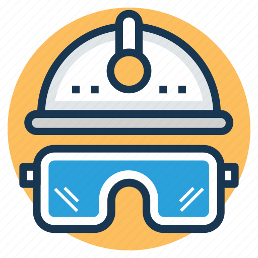 engineer, gas welding goggles, hard hat and glasses, welder icon