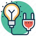 electric power, electrical energy, electricity, light, power supply icon