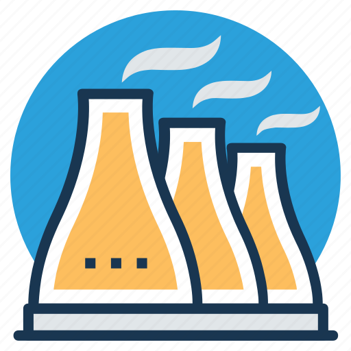 atomic power plant, cooling tower, nuclear energy, nuclear power plant icon
