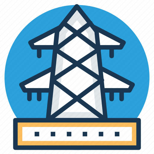 electric power pylon, electric pylon, electric tower, high voltage tower, power transmission icon