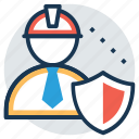 builder shield, construction shield symbol, constructor shield, engineer and shield, security concept icon