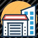 godown, storage garage, storage unit, store with shutter door, warehouse icon
