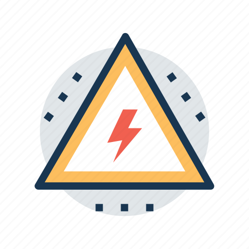 caution, electric sign, high voltage, voltage warning, warning sign icon