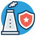 danger warning, industrial security symbol, nuclear safety symbol, radiation shield, shield with nuclear power station