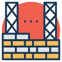 building construction, building site, construction, construction site, wall construction icon