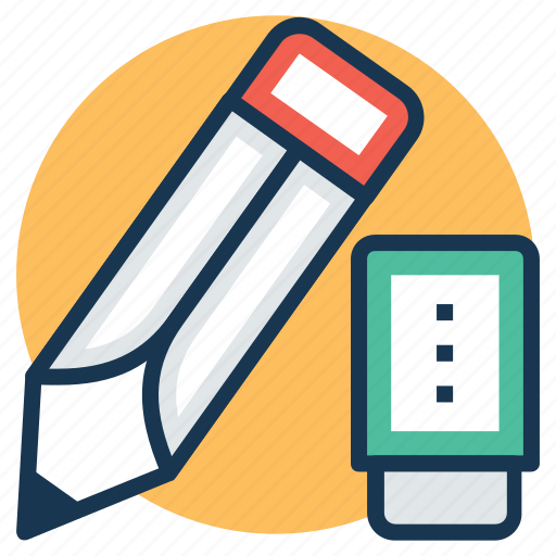 artistic tools, draft tool, drawing equipment, pencil with eraser, stationery icon