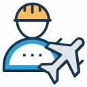 air engineer, aircraft flight crew, aircraft maintenance technician, flight dispatcher, flight engineer icon