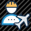 air engineer, aircraft flight crew, aircraft maintenance technician, flight dispatcher, flight engineer icon