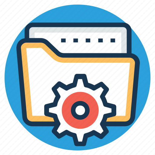 folder gear, project files, project files folder, project management, technical project icon