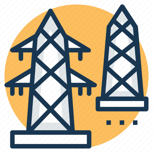 electric pylon, electricity, power mast, power tower, transmission tower icon