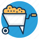 barrow, construction cart, garden trolley, lawn cart, wheelbarrow icon