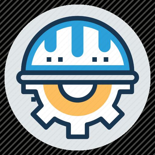 construction development, engineering, hard hat with gear, industrial development, industry symbol icon