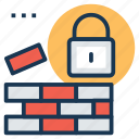 construction safety concept, firewall, padlock with bricks, wall and padlock, wall security icon
