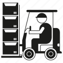 box, construction, forklift, industry, labor, warehouse, worker icon