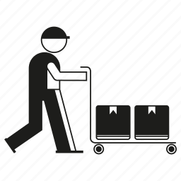 box, cart, construction, industry, labor, people, worker icon