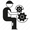 cogwheel, control, gear, industry, labor, people, worker icon