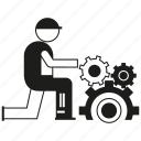 contractor, engineer, gear, manufacturing, service, technician, worker icon