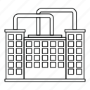 building, factory, industrial, industry, line, outline, plant icon